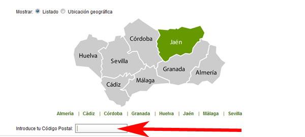 Mapa de provincias de cita previa SAE SEPE ANDALUCIA